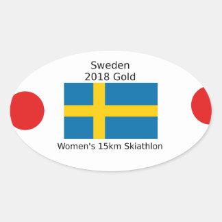 Sticker Ovale Or 2018 de la Suède - 15km Skiathlon des femmes