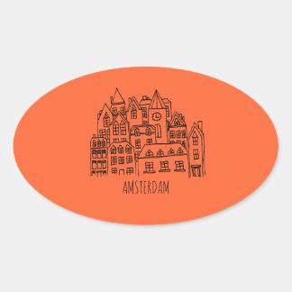 Sticker Ovale Orange néerlandaise de souvenir de ville