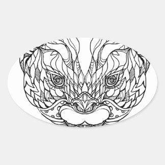 Sticker Ovale Oriental De petite taille-a griffé l'art de