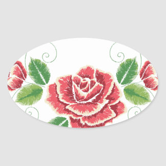Sticker Ovale Ornement de rose rouge de broderie