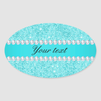 Sticker Ovale Paillettes et diamants personnalisés de turquoise