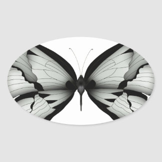 Sticker Ovale Papillon sage alpin