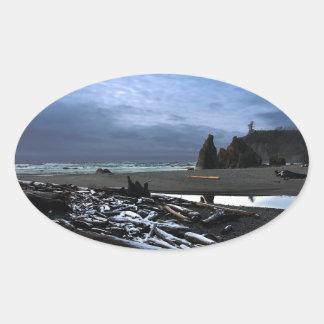 Sticker Ovale Parc national olympique de plage rouge de coucher