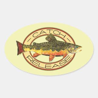 Sticker Ovale Partie de levier de verrou de pêche de mouche