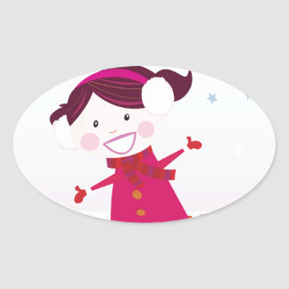 Sticker Ovale Patinage de glace peu de rouge d'enfant