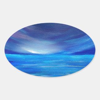 Sticker Ovale Paysage marin abstrait de bleu et de pourpre