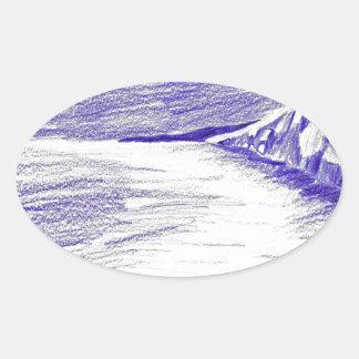 Sticker Ovale Paysage marin pourpre