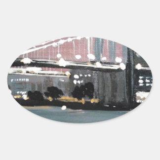 Sticker Ovale Paysage urbain foncé