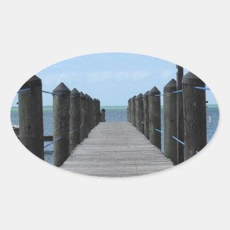 Sticker Ovale Pêche allée