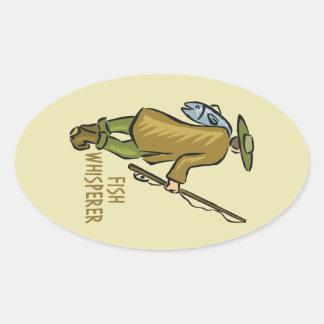 Sticker Ovale Pêcheur de mouche