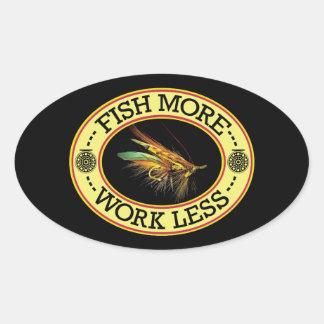 Sticker Ovale PÊCHEZ une pêche de mouche plus saumonée