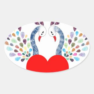 Sticker Ovale pecock d'amour