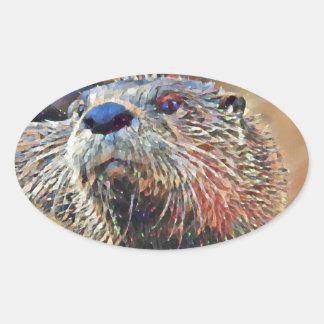 Sticker Ovale Peinture à l'huile de Digitals de loutre de
