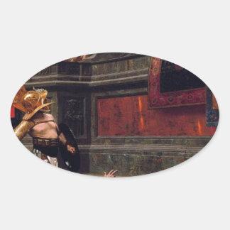 Sticker Ovale Peinture de verso de Pollice