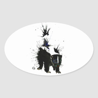 Sticker Ovale Peinture pour aquarelle de mouffette