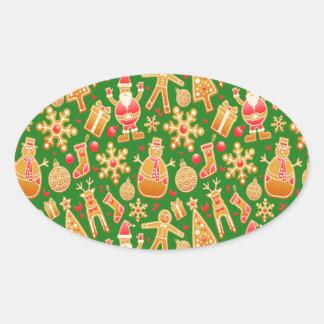 Sticker Ovale Père Noël de fête et pain d'épice de bonhomme de