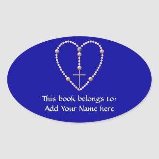 "Sticker Ovale ""Perle"" le chapelet en forme de coeur"
