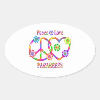 Sticker Ovale Perruches d'amour de paix