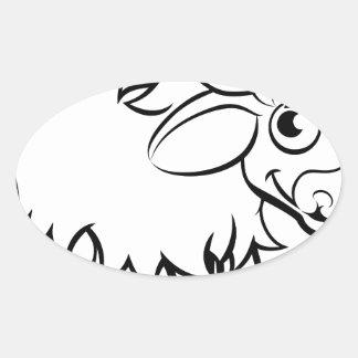 Sticker Ovale Personnage de dessin animé de yaks