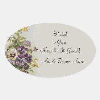 Sticker Ovale Personnaliser florale vintage de citation de