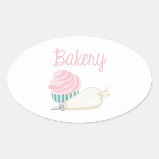 Sticker Ovale Petit gâteau de boulangerie