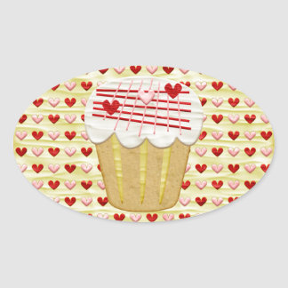 Sticker Ovale Petit gâteau de Valentine avec des bougies de