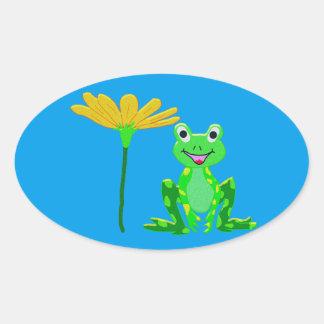 Sticker Ovale petite grenouille et fleur jaune