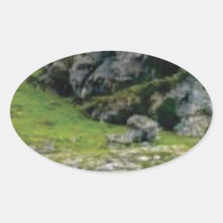 Sticker Ovale pierre verte de merveille