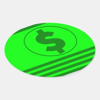 Sticker Ovale Piles d'argent liquide