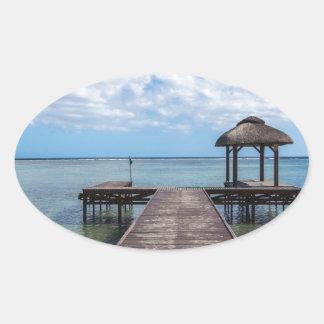 Sticker Ovale Pilier dans le flac flic îles Maurice d'en d'océan