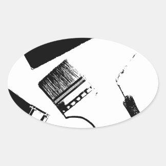 Sticker Ovale pinceaux