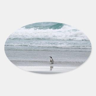 Sticker Ovale Pingouin retournant de l'océan