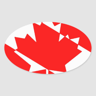 Sticker Ovale Piqué blanc rempli Canada