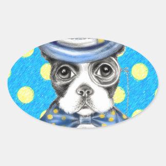 Sticker Ovale Point de polka de Boston Terrier