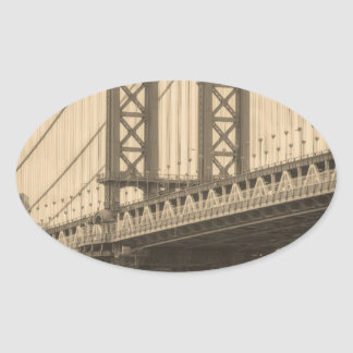 Sticker Ovale Pont de Manhattan