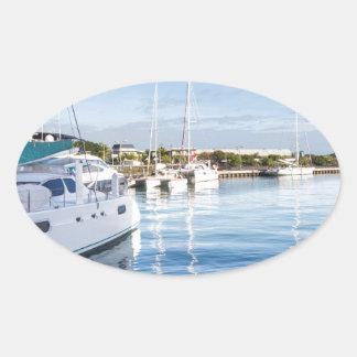 Sticker Ovale port de la capitale de Port-Louis des Îles Maurice