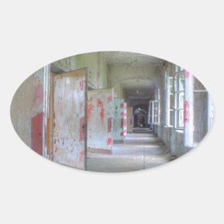 Sticker Ovale Portes et couloirs 02,1, endroits perdus, Beelitz