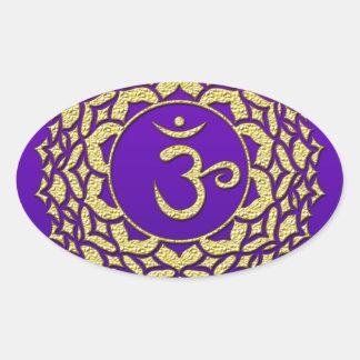 Sticker Ovale Pourpre de Chakra de couronne