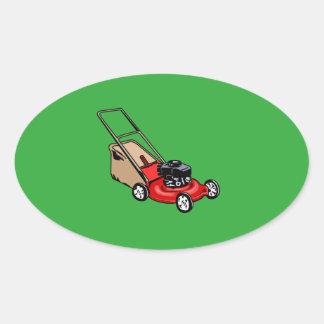 Sticker Ovale Poussez le rouge de tondeuse à gazon