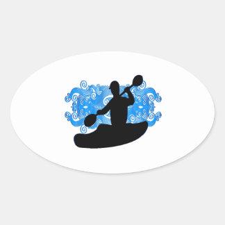 Sticker Ovale Précipitation de kayak