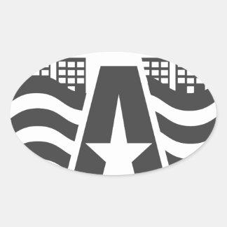 Sticker Ovale Premier nom de lettre - un paysage de ville avec