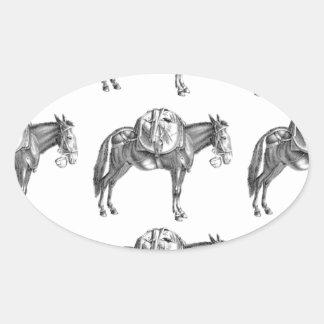 Sticker Ovale prière de mule de paquet