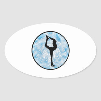 Sticker Ovale Princesse de patinage de glace