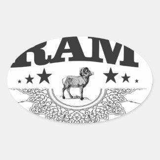 Sticker Ovale RAM des moutons
