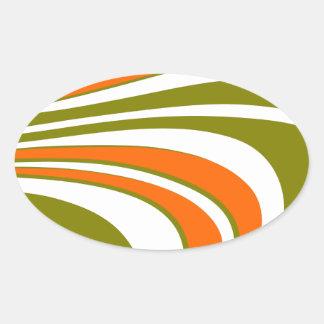 Sticker Ovale Rayures sinueuses abstraites
