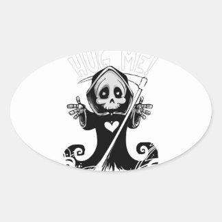 Sticker Ovale Reaper-bébé mignon de Reaper-bande dessinée de