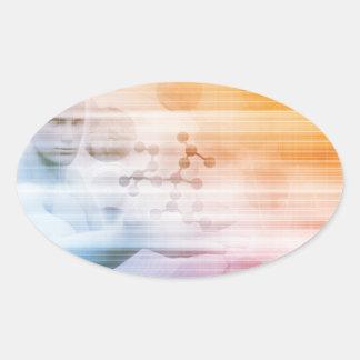 Sticker Ovale Recherche et développement avec docteur Viewing