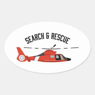 Sticker Ovale Recherche et hélicoptère de délivrance