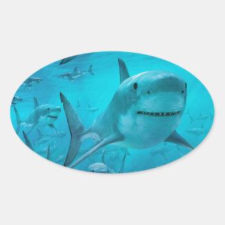 Sticker Ovale Requins