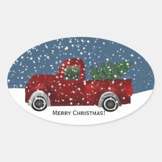 Sticker Ovale Rétro arbre vintage rouge de camion et de Noël